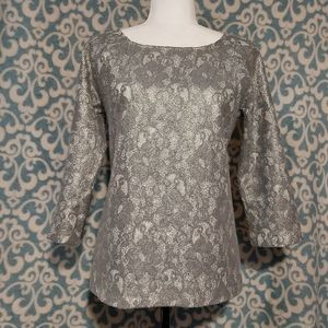 Banana Republic Lace Design 3/4 Sleeve Top